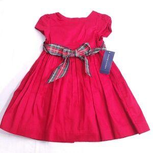 Ralph Lauren Red Dress with Plaid Belt